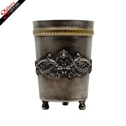 Faberge Antique Imperial Russian Silver 84 Chased Gold Footed Cup Beaker Kovsh