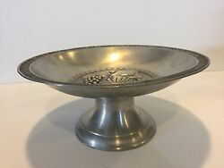 Vintage 95 Etain Pewter Fruits Centerpiece Footed Bowl, 11 7/8 D X 5 1/2 High