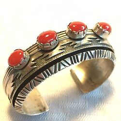 Signed Vintage Navajo Sterling Silver And Coral Cuff Bracelet, John Nelson
