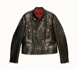 $5,8K NEW GUCCI INK WAXED CALF LEATHER BIKER JACKET M/ITALY SIZE 46, FITS USA 36