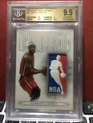 2013-14 National Treasures Lebron James Colossal GU Logoman Patch #25 BGS 9.5