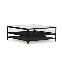 39.75 W Eustorgio Coffee Table Tempered Glass Enclosed Top Iron Shelving And Base