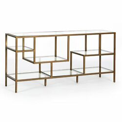 59.75 L Ronald Brass Media Console Iron Glass Antique Tempered Spectacular