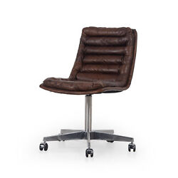 34 Irene Desk Chair Shiny Stainless Steel Top Grain Leather In Antique Whiskey