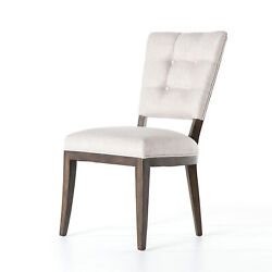 25.5 W Set Of 2 Dining Chair Hand Crafted Birch Wood Button Tufted Open Back