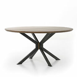 60 W Ian Dining Table Antique Brass Clad Solid Oak Top Industrial Iron Base