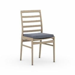 19.75 W Set Of 2 Lincoln Outdoor Dining Chair Hand Crafted Teak 100 Olefin