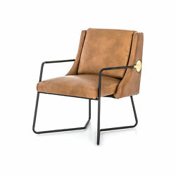 33.25 Enzo Chair Occasional Top Grain Leather Steel Stainless Patina Copper Sm
