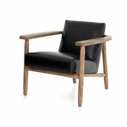 29 W Giovanna Chair Hand Crafted Parawood Frame Black Top Grain Leather Modern