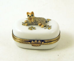 NEW FRENCH LIMOGES TRINKET BOX YORKSHIRE TERRIER YORKIE DOG PUPPY ON PAW PRINTS