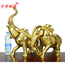 41 Cm Chinese Pure Brass Elephant Auspicious Beast Lucky Fengshui Animal Statue