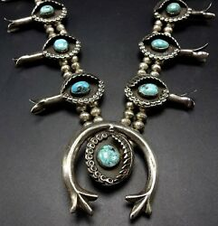 Fabulous Vintage Navajo Sterling Silver Turquoise Squash Blossom Necklace