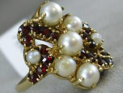 Antique Garnet Pearl 14k Yellow Gold Filigree Cluster Cocktail Ring 19m L1325.13
