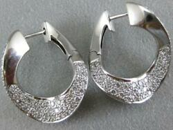 Estate Pave 1ctw Diamond 14kt White Gold Front Facing Hoops Earrings L1332.1.13