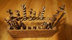 28 Vintage Old Used Auger Drill Bits Tools All Kinds. Hand Made Wooden Box Old