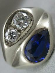 Antique Round Diamond Blue Stone 14kt White Gold Mens Band Pinky Ring L1326.43