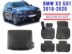 Floor Mats For Bmw X3 G01 2018-2020 2 Rows + Cargo Mat Liner Rubber Tray Black