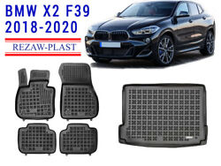 Floor Mats For Bmw X2 F39 2018-2022 2 Rows + Cargo Mat Rear Rubber Tray Black 3d