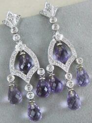 Estate 6.60ctw Diamond Amethyst 14k White Gold Hanging Dangle Earrings L1336.157