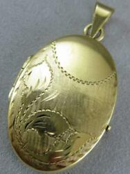 Estate Oval Filigree Locket 14kt Yellow Gold Picture Pendant Italy 29mm L1326.38