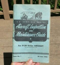 Ww2 Us Army Air Force P-38 Lightning Aircraft Inspection Maintenance Guide Book