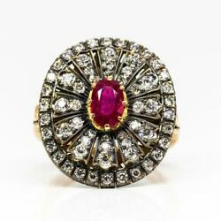 Enticing 18k Gold And Silver Burma Ruby And Diamonds Ring