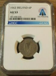 Neil Armstrong's Wedding Coin Ireland 6 Pence AU53 NGC C33 In Your Shoe Apollo