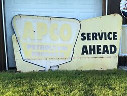 Original Apco Anderson Pritchard Service Ahead Billboard Sign Vintage Gas Oil
