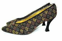 Vintage True 60th Caparros Green Beaded Fabric Shoes Size 9 B 3 High Heels