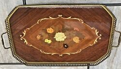 Vintage Mid Century Marquetry Inlaid Wood Serving Tray Brass Trim Handles Italy