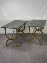 Pair of 19th Century Directoire rectangular tables with black marble 47¼
