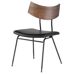 19 W Set Of 2 Stackable Dining Chair Leather Curved Wood Backrest Contemporary