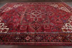 Vintage Excellent Geometric Heriz Red Area Rug Hand-knotted Living Room 10and039x13and039