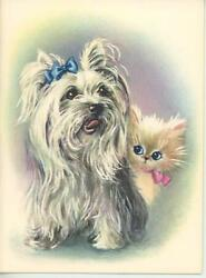 VINTAGE GRAY WHITE YORKSHIRE TERRIER DOG KITTEN CAT CUTE  NOTE CARD COLOR PRINT