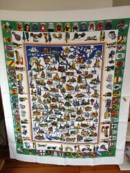New Vintage West German Germany Cities Tourist Viscose Rayon Tablecloth 50x62