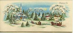 VINTAGE CHRISTMAS EVE CHURCH SNOW STORM  1 TREE YORKSHIRE TERRIER PUPPY DOG CARD