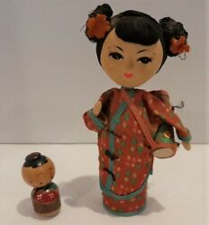 Asian Doll With Drum Figure And Miniature Kokeshi Wooden Doll