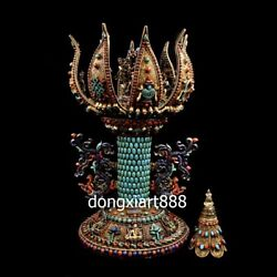 Tibet Copper inlay turquoise Guhyasamaja Mandala niche for Buddha shrine Statue