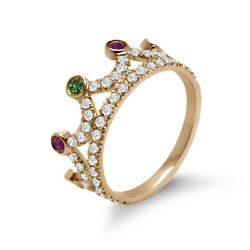 14k Gold Diamond Emerald And Ruby Crown Ring