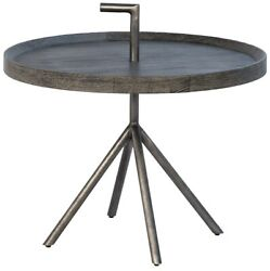 22 W Frank End Table Round Solid Oak Top Iron Umbrella Base Modern Contemporary