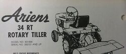 Ariens Garden Tractor 34 Rt Rotary Tiller Implement Service And Part Manual 831006