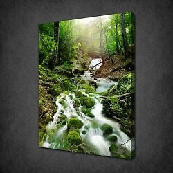 Forest Waterfall Rocks Moss Covered Canvas Wall Art Print Picture Ready To Hang