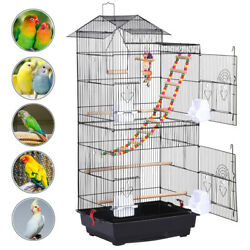 Roof Top Large Metal Bird Cage W/toys Parrot Cockatiel Conure Parakeet Cage