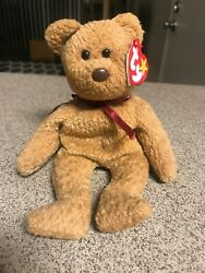 Ty Beanie Babies Curly The Bear Plush - 4052 - W/spelling Errors On Tag And Pvc