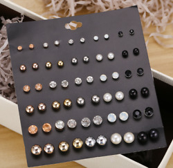 30 Pairs Ear Stud Set Fashion Round Ball Pearl Earring Crystal Stud Earrings set