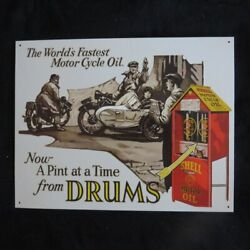 Shell - Motorcycle Oil - 40 X 32 Cm-retro Rustic Metal Tin Sign Man Cave