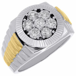 Diamond Fashion Pinky Ring Mens 10k Two Tone Gold Fluted Bezel Round Cut 1.10 Ct