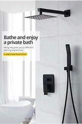 Luxurious 10 Square Wall Dual Handle Shower System - Stainless Steel Matt Black