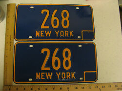 1966 66 - 1973 73 New York Ny License Plate Pair Three Digit - Low Number 268