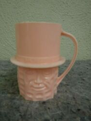 Vintage 1960's Mr Peanut Advertising Pink Plastic Cup With Handle